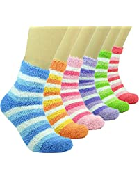 PINKIT 4 Pairs Soft & Cozy Ladies Women Girls Fuzzy Socks Winter Warm Feather Slipper Bed Socks (Without Thumb Socks) (Pack of Four Pairs) - Any 4 Colours