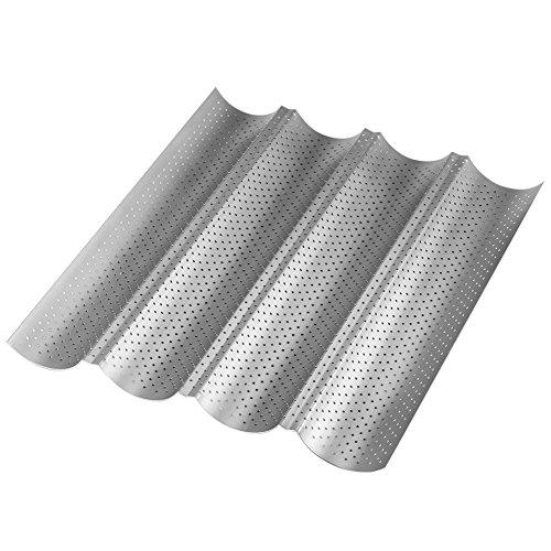 Tosnail Antihaft Baguette-Backblech Baguetteform 4 mulden, 38*33*2.5cm