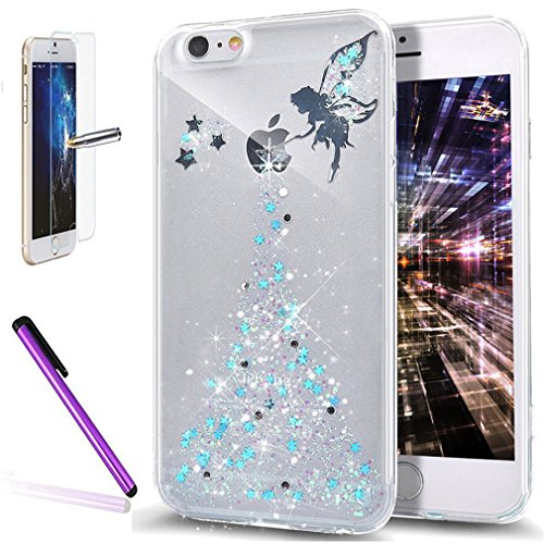 iPhone se case, iPhone 5 5S case, Newstars iPhone se glitter trasparente duro di lusso 3D creative liquido Diamond glitter custodia per iPhone se 5S, scorre Quicksands Bling glitter Sparkle duro custo C Angel 1