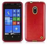 Cadorabo - Custodia silicone TPU Nokia Lumia 620 Design: METALLO SPAZZOLATO brushed - Case Cover Involucro Bumper Astuccio in ROSSO-CREMISI