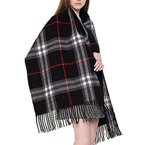 Women's Scarf Cashmere Warm Blanket Long Shawl Winter Autumn Reversible Plaid Tassels Wrapped Cape Stole With