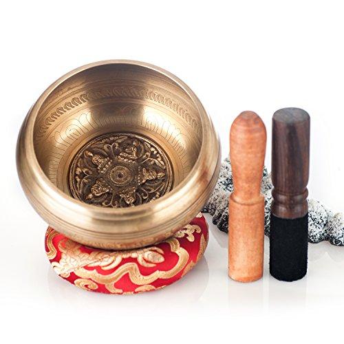 """Kangrinboqe 5.2"""" antike tibetische Klangschalen-Set mit zwei Mallet & Silk Ring Kissen-ideal für Meditationen, großes Geschenk für die Heilung, Yoga, Reiki, Entspannung, Zen, Musik-made in Nepal"""
