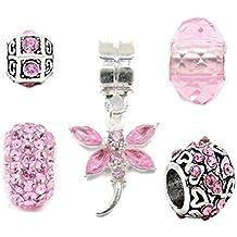 Juego de 5 charms de plata de color rosa para pulseras con charms de estilo Pandora Troll Chamilia, Truly Charming