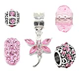 Truly Charming Jewellery Charm-Perlen-Set für Pandora-/Troll-/Chamilia-Armbänder silberfarben/Rosa 5Stück