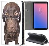 Hülle Samsung Galaxy J5 2016 Premium Smart Einseitig Flipcover Flip Case Handyhülle Samsung J5 2016 Duos Motiv (358 Hund Braun mit Brille)