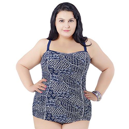 Baymate Talla Grande Impresión Bikini De Una Pieza Trajes De Baño Para Mujeres Blanco Punto 6XL