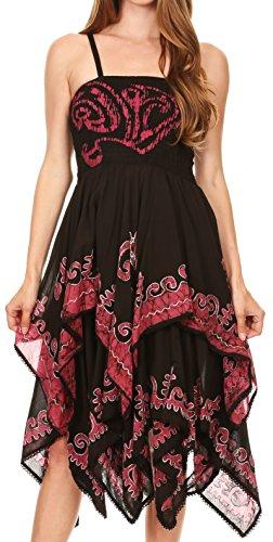 Sakkas Batik smocken Mieder Zipfelsaum Kleid Brombeere