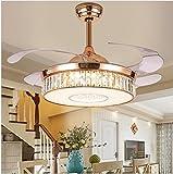 WHYIN - Modern Deckenventilator Licht LED Dimmbar mit Fernbedienung mit Gold Premium - Kristall Stealth Deckenventilator Licht