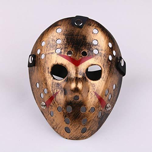 Spfree Ultra Gold Erwachsene Jason Maske Halloween Killer Hockey Festival Hacker Kostüm vS Cosplay Horror Prop Mens Womens Freddy Scary - Men's Hockey Kostüm