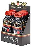 Crown Sport Nutrition 12 x Energy Gel + Cafeína (40g), Gel energético textura líquida con cafeína, aminoácidos y electrolitos para deportistas, Sabor de Frutos Rojos
