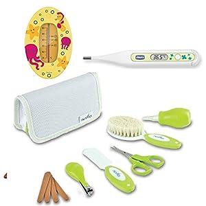 Nuvita Pflege-Set für Neugeborene // Uni // Bürste Echter Wolle // inkl. Tasche & CHICCO Digital Peadric Thermometer // reer Badethermometer