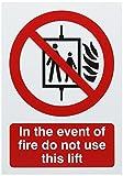 Signs & Labels FR08651R Warnschild In the Event of Fire Do Not Use This Lift (Aufzug im Brandfall nicht benutzen, in englischer Sprache)