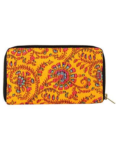 Bella cotone Pochette stampato floreale da Rajrang Amber Yellow & Red