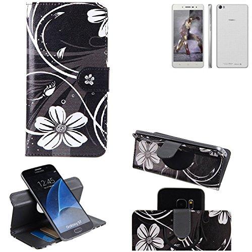 K-S-Trade Schutzhülle für Hisense L671 Hülle 360° Wallet Case Schutz Hülle ''Flowers'' Smartphone Flip Cover Flipstyle Tasche Handyhülle schwarz-weiß 1x