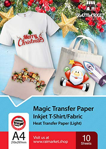 Iron on Transfer Paper for Light Fabric (Magic Paper) by Raimarket | 10 Sheets | A4 Inkjet Iron On Paper/T Shirt Transfers | DIY Fabric Printing, Unleash Your Creativity (10)
