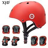 XJD 7PCS Child Protective Gear Set, Adjustable Kids bike Helmet Knee Pads Elbow