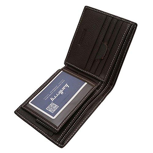 Gluckliy Männliches Geld Bargeld Kartenhalter Tasche Kurz Dünn Kreditkartenhalter Geldbörsen (Schwarz) Tiefer Kaffee