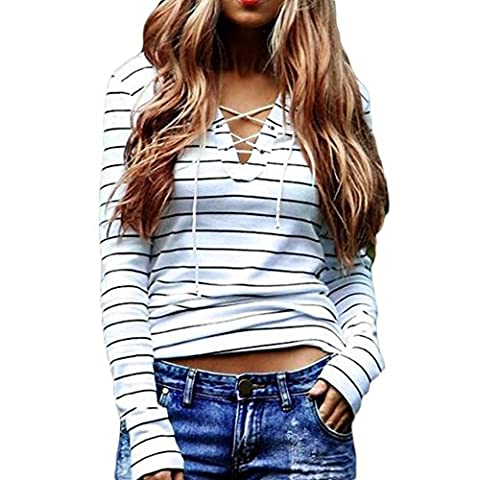 Woman Striped Top T-shirt Long Sleeve Blouse V-neck Black and White Striped Tee Shirt Cotton Jumper Autumn Casual Wear, Multicoloured,