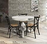 Table&Chairs tavolo da pranzo shabby chic laccato bianco rotondo con allunga da 40 cm 1453