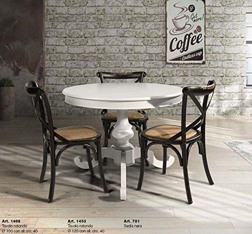 L\'Aquila Design Arredamenti Table&Chairs tavolo da pranzo shabby chic laccato bianco rotondo con allunga da 40 cm 1468
