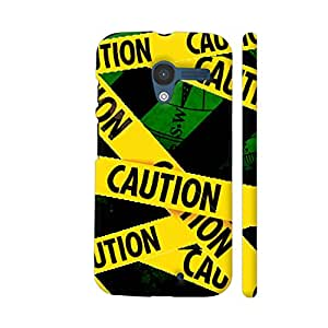 Colorpur Moto X1 Cover - Caution Tape On Green Case
