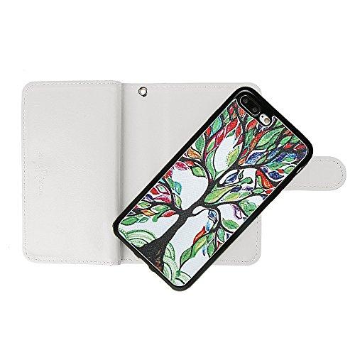"""xhorizon FM8 2 in 1 Premium Leder [Brieftasche Funktion] [Magnetisch Abnehmbar] Wristlet Geldbörse Mehrfache Karten-Schlitze Abdeckung Folio Schutzhüller für iPhone 7 plus (5.5"""") Bäume+ Stahlfolie"""