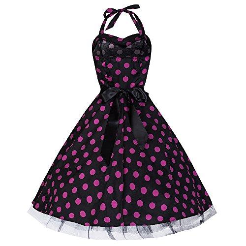 Pretty Kitty Fashion 50s Groß Lila Polka Dot Schwarz Weiß Neckholder Cocktail Kleid XS -
