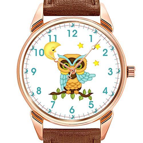 Herrenuhren Mode Quarzuhr Business wasserdicht leuchtende Uhr Männer braun Leder Uhr Junge auf einem Einrad Uhr