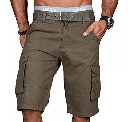 A.Salvarini Stylische Herren Cargo Short inkl. Gürtel Sommer Bermuda Kurze Hose Army Shorts AS-037 [AS037 - Grün - W29]