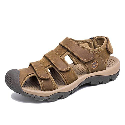 Sandali in pelle casual resistenti scarpe antiscivolo grip robusto scarpe per viaggiare camminare marrone chiaro 45