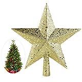 nicexmas Weihnachten Baum Topper Stern Treasures Blättern Ornament, 11,5cm (Gold)