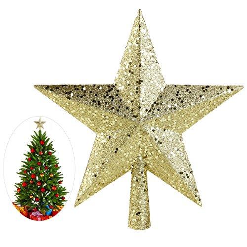NICEXMAS Weihnachtsbaum Stern - Weihnachtsstern Weihnachtsbaumspitze Baumspitze Spitze Stern Baumschmuck Weihnachtsbaum Gold (11.5cm) -