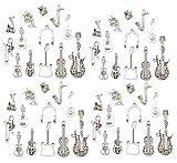 Assortiment de 52 pendentifs en alliage pour guitare basse, violoncelle, trompette,...