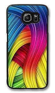 Custom Galaxy S6 Case Curly Colorful Rainbow Lines Illustration Ideas Ultra Fit Black Bumper Shockproof Case For Galaxy S6 Custom Hard PC Samsung Galaxy S6