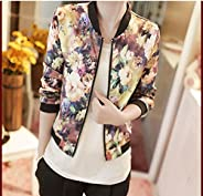 WensLTD Women Stand Collar Long Sleeve Zipper Floral Printed Bomber Jacket