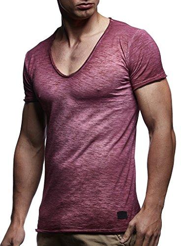 LEIF NELSON Herren Sommer T-Shirt V-Ausschnitt Slim Fit Baumwolle-Anteil   Moderner Männer T-Shirt V-Neck Hoodie-Sweatshirt Kurzarm lang   LN6280-1 Verw. Bordeaux X-Large -