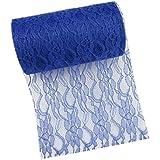 Paor 6pulgadas 25patio de tul tela de encaje para boda decorativo cinta camino de mesa silla Deco azul oscuro