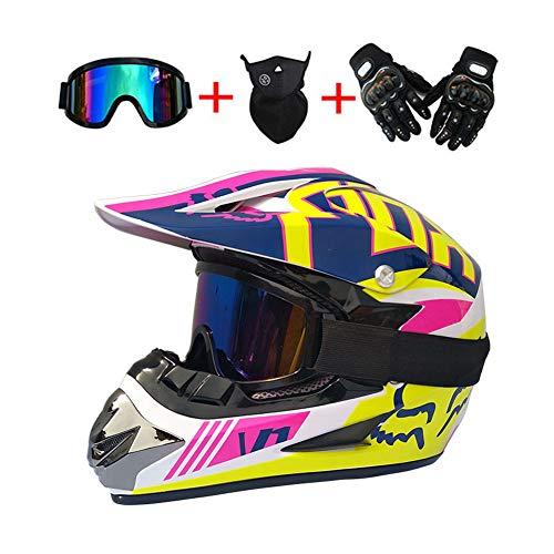 LEENY Motocross Motorräder Helm - Herren Motorradhelm mit Brillen Handschuhe Maske, Motorrad Off-Road-Helm Enduro Quads Motorcycle Crosshelm für Erwachsene Männer Frauen,S