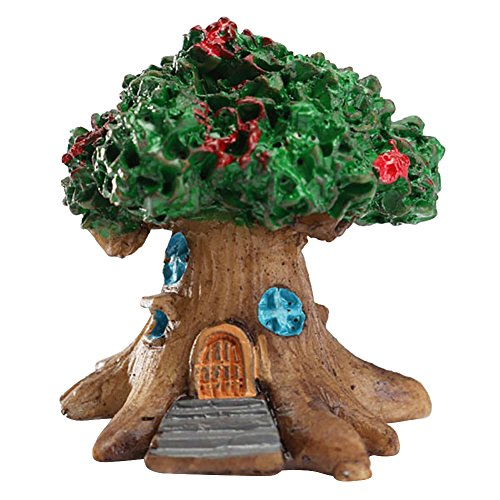 jiyoujianzhu Mini-Feenbaum, Haus Mikro-Landschaft, Ornament, Basteldekoration, Kunstharz, grün (3-tier-garten-brunnen)