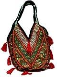 Bolso hecho a mano con bordados de parches de hombro de algodon para mujer, color Multi Color