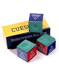 CUESOUL 3 Piezas por caja de Billar Chalk Snooker Cue Chalk (Verde)
