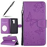 Handyhülle für Huawei Honor 6X, Blumen Schmetterling Muster Druck Handy Schutzhülle Brieftasche Handytasche Lederhülle Ledertasche für Huawei Honor 6X, Uposao...