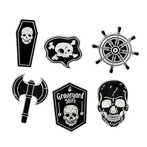 JTXZD Brosche 6 Teile/Satz Skeleton Pirate Nautical Compass Axe Schädel Icons Broschen für Männer Icon Abzeichen auf Frauen Männer Kleidung