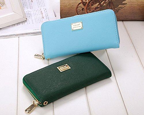 acd08e9bb89b2 Damen Pu Leder Lang Geldbörse Clutches Mädchen Portemonnaie Brieftasche  Handtasche Geldbeutel Pink Himmelblau