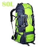 80L Travel Rucksack, ideal für Outdoor Sport, Wandern, Trekking, Camping Reisen, Bergsteigen. Wasserdichte Bergsteigtasche, Reiseklettern Daypacks, Rucksack, Rucksack (80L+Grün)