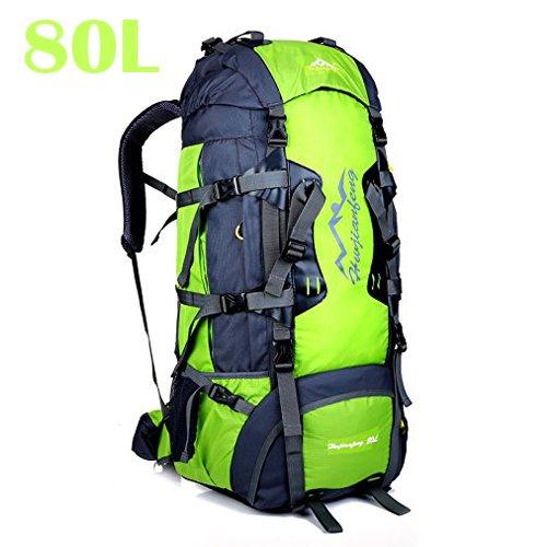 Mochila de 80 litros,ideal para deportes al aire libre,Senderismo,Trekking,Camping Travel,Escalada.Bolso impermeable del alpinismo,Daypacks que suben del recorrido,mochila,mochila (80L, 80L Verde)