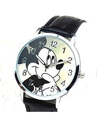 Mickey Mouse en una ronda para mujer, para hombre o niñas piel de color negro reloj de pulsera