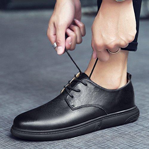 Lyzgf Hommes Chaussures En Cuir Mode Casual Rétro Hommes Noir