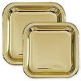 Party Pappteller Quadratisch Gold METALLIC 18 cm + 23 cm - extra-stabil - 16 Einwegteller perfekt für Geburtstag, Party, Sommerfest, Kindergeburtstag & Co.