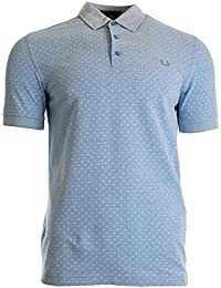 Fred Perry Polka Dot Oxford Pique Shirt Light Smoke, Polo